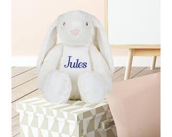 Plush Bunny custom embroidered with your name personalized kids gift