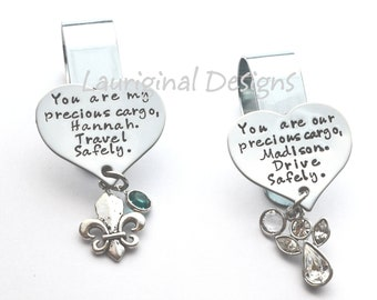 Visor Clip - Safe Travels - Hand stamped stainless steel - Choice of wording, shape (heart or circle), charm and crystal - See ALL photos!