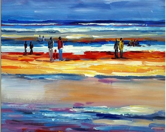 Beach Holiday - Signed Hand Painted Abstract Figurative Seascape Oil Painting On Canvas