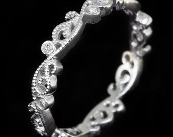 Platinum Art Deco Style Diamond Wedding Band Vintage Floral Filigree Retro Ladies Ring Natural Dainty Stacking 3779-PT