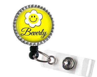 Yellow Flower ID Retractable Badge Reel