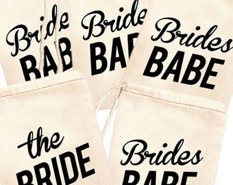 Brides Babe Favor Bags, Bridesmaid Favor Bag Set, Bridal Party Jewelry Bags, Bride Vibes Favor Bags, Bridesmaid Gift Bags, Wedding Bags