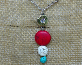 Red White and Blue Turquoise Bullet Necklace 50 Caliber AE Howlite Shootergirl Ammunition Jewelry USA Americana Patriotic