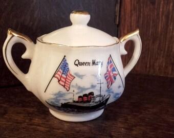 Vintage 60's Souvenir Queen Mary Long Beach porcelain mini sugar bowl