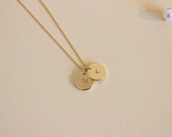Two initial necklace, dainty initial necklace, delicate necklace, sister gift, gift for friend, silver gold rose gold disk necklace,