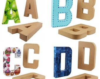 """Papier Mache Alphabet Letters & Symbols 20.5cm, 8.5"""" free standing, Cardboard Letters, Decoupage Letters, ScrapBooking, Alphabet Art"""