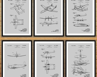 Airplane Poster set of 6 - Airplane prints - Airplane Poster - Airplane mixer pack - Vintage Airplane Patents - Pilot - Flying