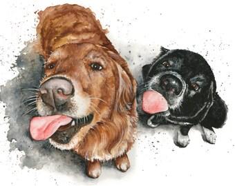 10x13 Original Custom Watercolour Pet Portrait