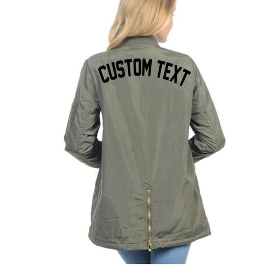 WOMENS CUSTOM Green Cargo Bomber Jacket- Long Sleeve Zip Up Trendy Olive Bomber Jacket- Classic Personalize Bomber Jacket- Custom Text KKNaWN4Dux