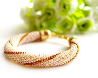 Peach Gold Silver Bead Crochet Bracelet Seed Bead Bracelet Beadwork Jewelry Elegant For Women Handmade Beaded crochet ropes Harness Gift