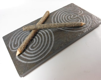 DOUBLE LABYRINTH STONE - Troy Outline (2 Paths on Each End) - Finger Maze Meditational Tile - Carved in Traditional Natural Slate Stone Zen