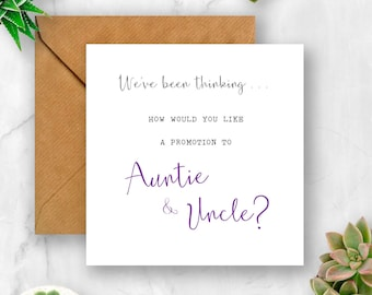 We've Been Thinking... How Would You Like a Promotion to Auntie & Uncle Pregnancy Announcement Card, We're Pregnant, Having A Baby