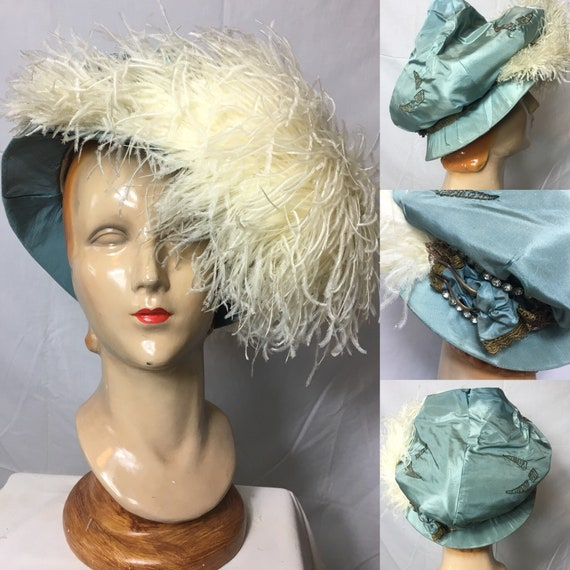 Vintage Early 1900s Turquoise Silk Embroidered Hat w White Ostrich Plumes As Is