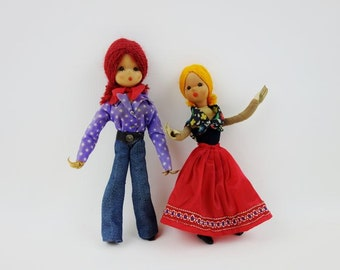 Vintage Articulated Dolls Made in Former East Germany Lot of 2