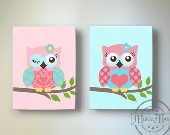 Toddler Girls Room Art Owl Nursery Wall Art Canvas Art Set Canvas Reproduction in Pink and Aqua