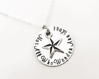 Not all who wander are lost necklace pendant sterling silver, pewter nautical star charm