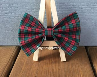 NEW! Christmas plaid dog bow tie, red and green plaid with gold detail