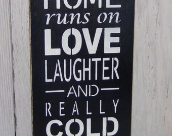 This Home Runs on Love Laughter And Really Cold Beer, Beer Sign, Man Cave Sign, Game Room Sign, Gift For Man