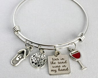 Toes in the Sand Wine in my Hand, Beach Charm Bangle, Beach Bracelet, Wine Charm Bracelet, Beach Lover Jewelry, Wine Lover Gift
