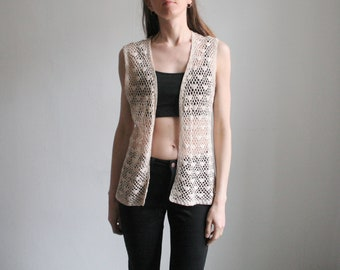 Vintage M/L off white crocheted vest