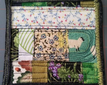 Mini art quilt Funky Remnants small square mug rug fabric scrap sheep stitched freemotion quilted