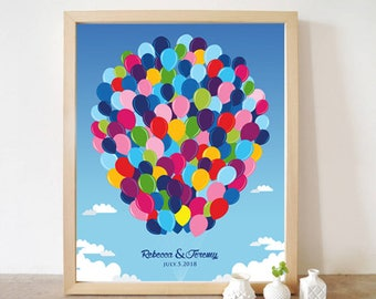 Printable Wedding Guest Book UP Disney Movie, Alternative Guestbook 90 Signatures Balloons house Print poster you are my Greatest Adventure