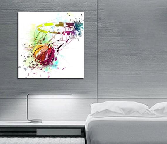 Impression sur toile art de basket ball sport art poster de basketball basketball fan art chambre garçon oeuvre pour homme grotte décor mural