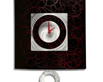 50% OFF SALE!! Large Black, Red & Silver Modern Metal Wall Art - Abstract Oversized Clock - Red Controlled Chaos Pendulum Clock by Jon Allen