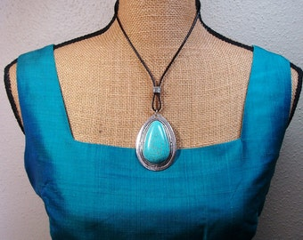 Turquoise Gemstone and 925 Silver Leather Strap Necklace
