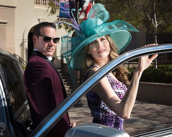 Aqua Derby hat, kentucky derby hat, Derby hat, Del mar races, Women hat, Royal Ascot, wedding, fashion week
