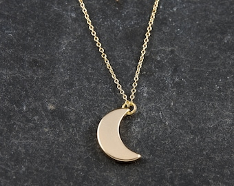 Dainty Necklace, Gold Moon, Delicate Fine Chain, Gold Crescent Moon Necklace