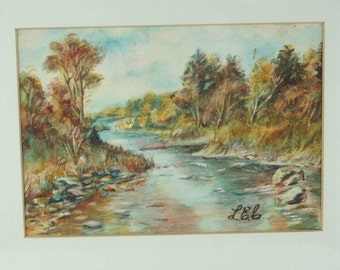 WATERCOLOUR PAINTING. Stream Picture. River Scene. Wilderness Painting.water-colour. signed watercolour.  country decor.  No.001159