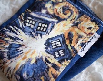 Baby burp cloth Exploding Tardis Dr Who hand dyed deep blue burp cloth