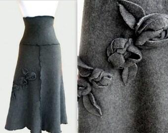 Sweater Fleece Skirt with Rosette Decor