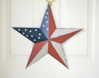 "Red, White and Blue Americana Barn Star - 18"" five point Barn Star - July 4th, Americana - Front door decoration -  Patriotic"