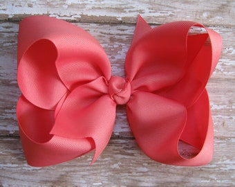 Large 6 inch Grosgrain Hair Bow in Coral Rose Big Girls Boutique Style Hairbow