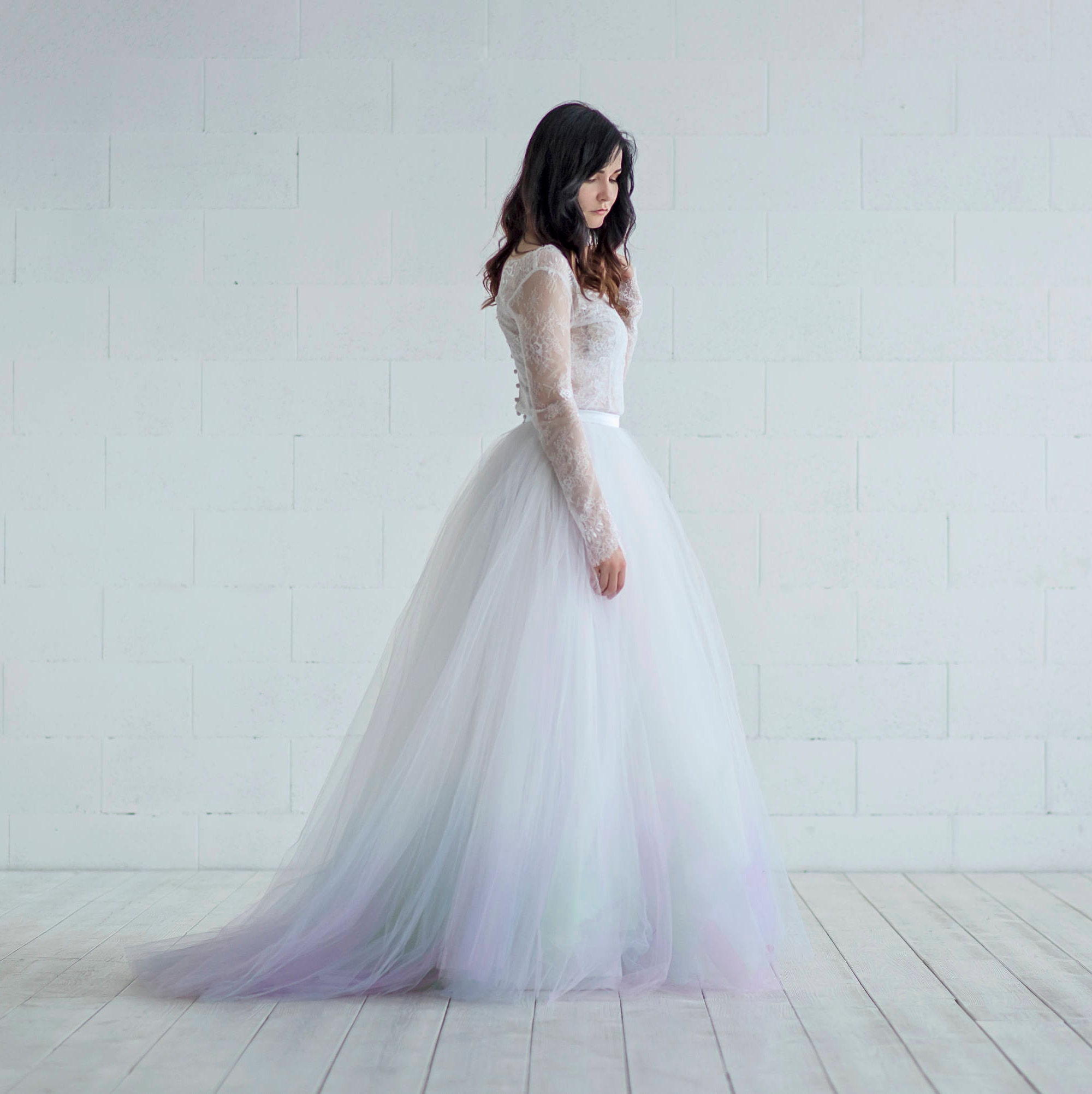 Aurora wedding tulle skirt / northern lights bridal skirt /