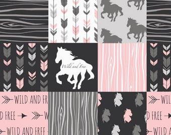 Baby Girl Quilt , Baby/Toddler Blanket , Wild , Horses  , Arrow , Horse , Baby Bedding , Crib Bedding , Babylooms