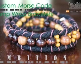Men's Hemp Wrap Bracelet | Custom Morse Code Jewelry | Boho Jewellery | Groomsman Gifts | Vegan | Teacher Gifts | Personalized Gifts for Him