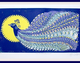 linocut, peacock, summer meadow, wildflower art, printmaking, blue and yellow, bird print, daisy flowers, limited edition art, navy blue