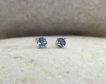 Tiny Aquamarine Earrings with Sterling Silver Posts, second hole stud earrings