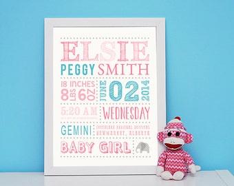 Nursery art, Baby Girl Nursery Decor, Baby Name Wall Art, Personalized Birth Details, Baby Subway Art, baby shower gift, Baby Stats Wall Art