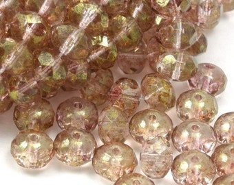 Czech Glass Beads Fire Polished Gemstone Donuts 7x5mm Luster Transparent Topaz Pink (25) CZF105