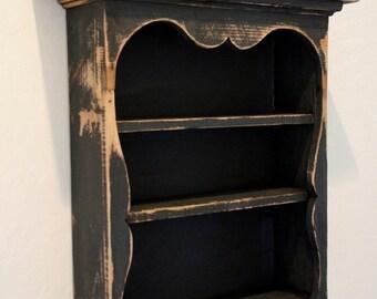 Shabby style wall shelf, primitive wall shelf, sweetheart wall shelf, antique style wall shelf, distressed book shelf