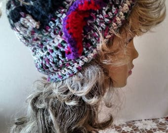 Hand Crocheted Womens Winter Hat Purple Tweed With Special Crocheted Ruffle Trim