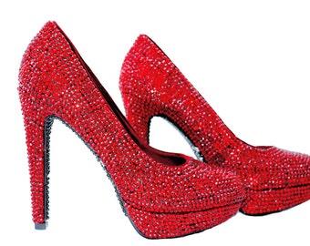 SALE!!! Custom Swarovski Burgundy Claret Red crystal encrusted embellished wedding Bridal platform high heel court pump shoes-LAST PAIR!!!