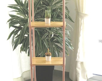Copper Bookshelf + Pine Wood