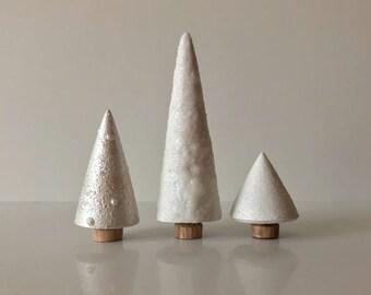Christmas Tree Ornament - Christmas Decorations - White Christmas Decor- Wooden Trees- Wooden Christmas Decor - Mini Christmas Tree