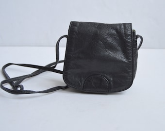Black Leather Satchel Bag Small Leather Crossbody Bag Vintage Black Natural Leather Mini Purse Shoulder Handbag Purse