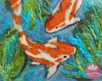 koi fish art, koi fish painting, felt art print, koi pond, koi fish decor, wool painting, wool fibre art, needle felted art, fiber wall art